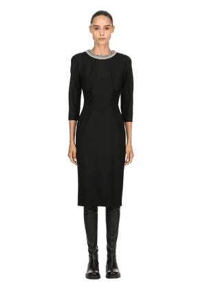 Embellished Collar Stretch Wool Dress