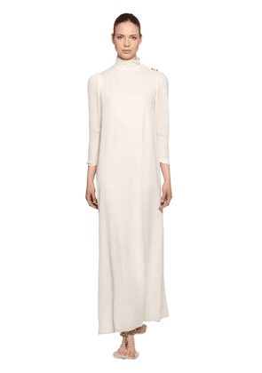 Crepe Long Dress W/ Jewel Buttons