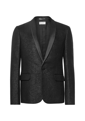 Saint Laurent - Black Satin-trimmed Metallic Wool-blend Blazer - Black