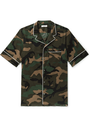 Valentino - Camp-collar Piped Camouflage-print Cotton-poplin Shirt - Green
