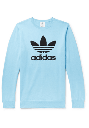 adidas Consortium - + Have A Good Time Logo-intarsia Cotton Sweater - Light blue