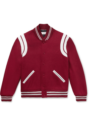 Saint Laurent - Leather-trimmed Virgin Wool-blend Bomber Jacket - Claret