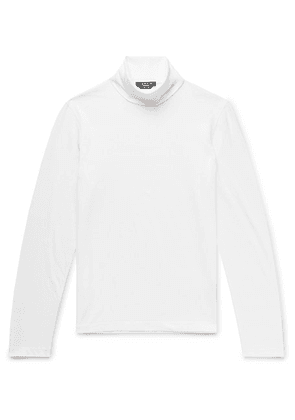 CALVIN KLEIN 205W39NYC - Slim-fit Logo-embroidered Stretch-cotton Jersey Rollneck T-shirt - White