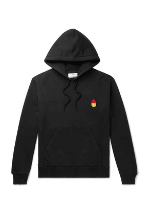 AMI - + The Smiley Company Slim-fit Logo-appliquéd Loopback Cotton-jersey Hoodie - Black