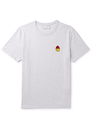 AMI - + The Smiley Company Logo-appliquéd Mélange Cotton-jersey T-shirt - Gray