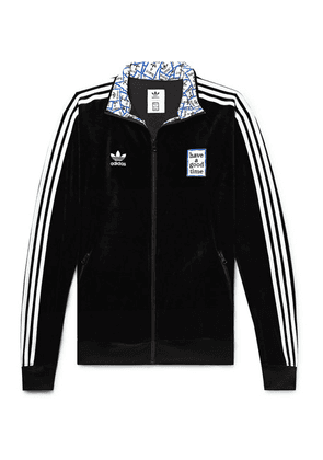 adidas Consortium - + Have A Good Time Logo-embroidered Striped Velour Track Jacket - Black