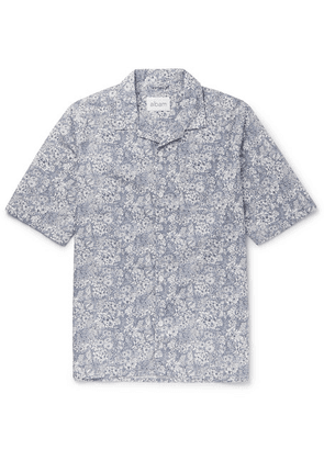 Albam - Camp-collar Floral-print Cotton Shirt - Navy