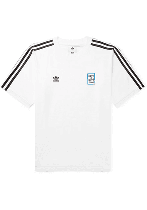 adidas Consortium - + Have A Good Time Logo-embroidered Striped Cotton-jersey T-shirt - White