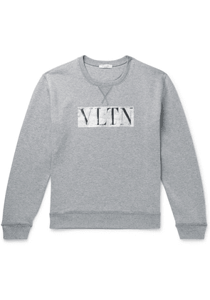 Valentino - Metallic Logo-print Loopback Cotton-blend Jersey Sweatshirt - Gray