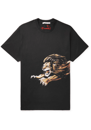 Givenchy - Oversized Printed Cotton-jersey T-shirt - Black