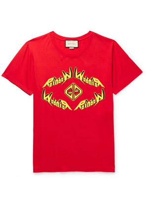 Gucci - Printed Cotton-jersey T-shirt - Red
