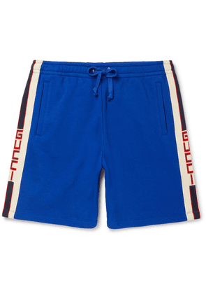 Gucci - Wide-leg Logo Webbing-trimmed Loopback Cotton-jersey Shorts - Blue