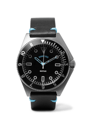 Bamford Watch Department - Mayfair Brushed Stainless Steel And Leather Watch - Black