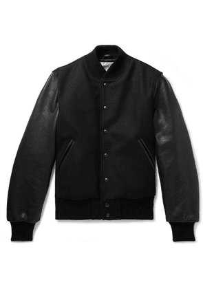 Golden Bear - Wool-blend And Leather Bomber Jacket - Black
