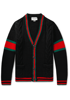 Gucci - Stripe-trimmed Cable-knit Wool Cardigan - Black