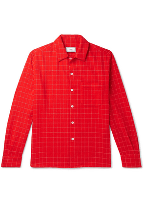 AMI - Checked Wool-blend Flannel Shirt - Red