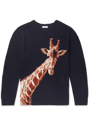 Valentino - Giraffe-intarsia Merino Wool And Cashmere-blend Sweater - Navy