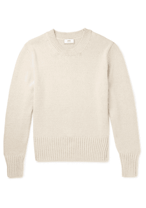 AMI - Cotton And Linen-blend Sweater - Cream