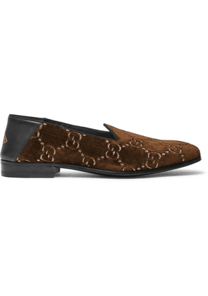 d3fc45be5 Gucci - Gallipoli Collapsible-heel Leather-trimmed Embroidered Velvet  Loafers - Brown