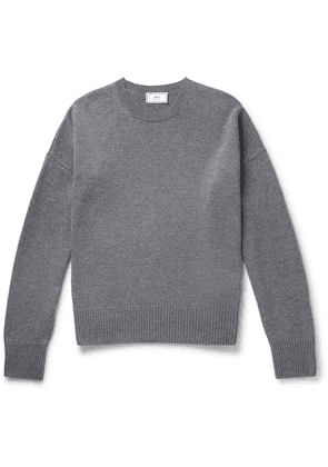 AMI - Oversized Mélange Merino Wool And Cashmere-blend Sweater - Gray