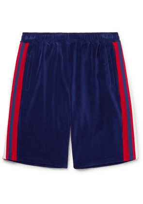 Gucci - Grosgrain-trimmed Velour Shorts - Blue