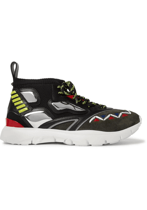 Valentino - Heroes Reflex Suede, Leather And Mesh Sneakers - Black