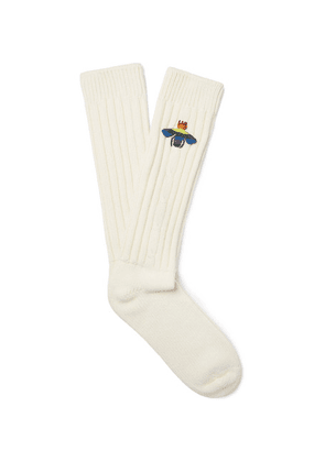 Gucci - Appliquéd Ribbed Knitted Socks - White