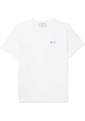 AMI - Slim-fit Logo-embroidered Cotton-jersey T-shirt - White