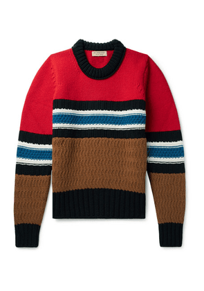 Burberry - Striped Wool And Cashmere-blend Sweater - Red