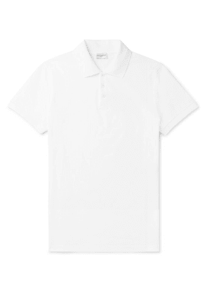 SAINT LAURENT - Embroidered Cotton-piqué Polo Shirt - White