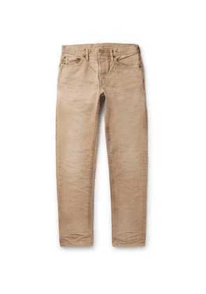 Fabric-Brand & Co - Slim-fit Distressed Denim Jeans - Beige