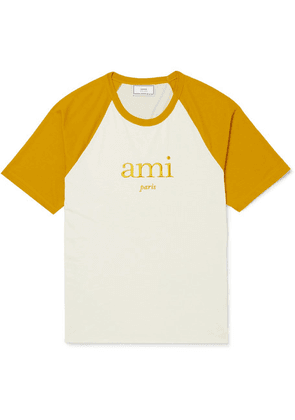 AMI - Embroidered Two-tone Jersey T-shirt - Mustard