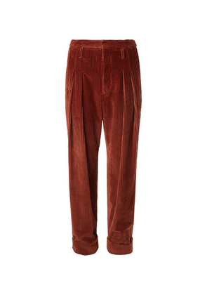 Connolly - Tapered Pleated Cotton-corduroy Trousers - Brown
