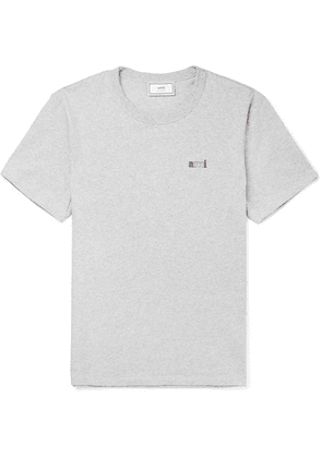 AMI - Logo-embroidered Mélange Cotton-jersey T-shirt - Gray