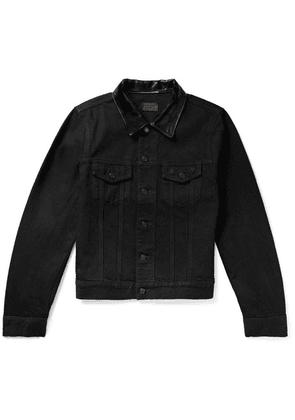 Saint Laurent - Leather-trimmed Denim Jacket - Black