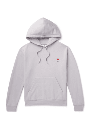 AMI - Embroidered Loopback Cotton-jersey Hoodie - Lilac