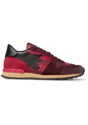 Valentino - Valentino Garavani Rockrunner Camouflage-print Canvas, Leather And Suede Sneakers - Multi