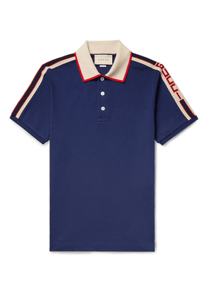 Gucci - Webbing-trimmed Stretch-cotton Piqué Polo Shirt - Navy
