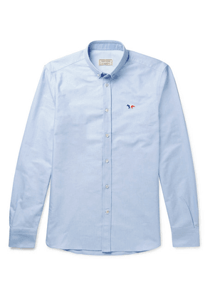 Maison Kitsuné - Slim-fit Button-down Collar Logo-appliquéd Cotton Oxford Shirt - Blue