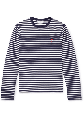 AMI - Embroidered Striped Cotton T-shirt - Navy
