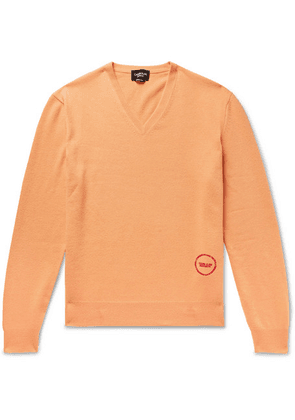 CALVIN KLEIN 205W39NYC - Logo-embroidered Wool And Cotton-blend Sweater - Orange