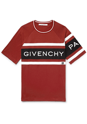 Givenchy - Logo-embroidered Striped Cotton-jersey T-shirt - Red