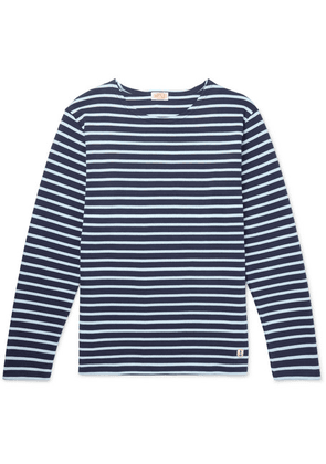 Armor Lux - Striped Cotton-jersey T-shirt - Blue