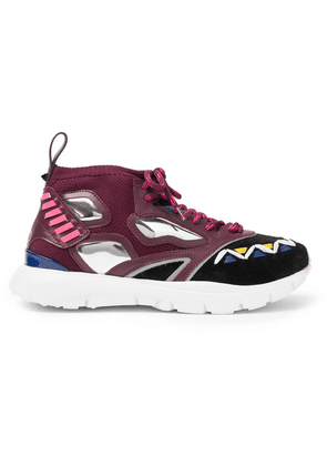 Valentino - Heroes Reflex Suede, Leather And Mesh Sneakers - Burgundy