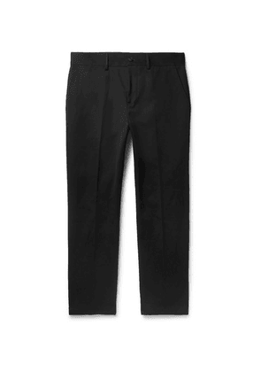 Burberry - Slim-fit Tapered Cotton-blend Twill Chinos - Black