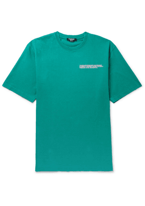 CALVIN KLEIN 205W39NYC - Oversized Embroidered Distressed Cotton-jersey T-shirt - Turquoise