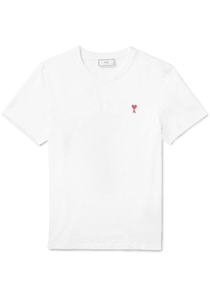 AMI - Embroidered Cotton-jersey T-shirt - White