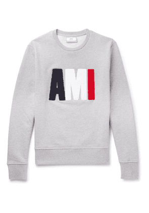 AMI - Terry-detailed Loopback Cotton-jersey Sweatshirt - Gray