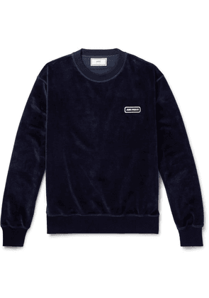AMI - Logo-appliquéd Cotton-blend Velour Sweatshirt - Navy