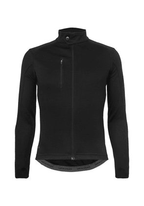 Cafe du Cycliste - Yolande Faux Suede-trimmed Cycling Jersey - Black